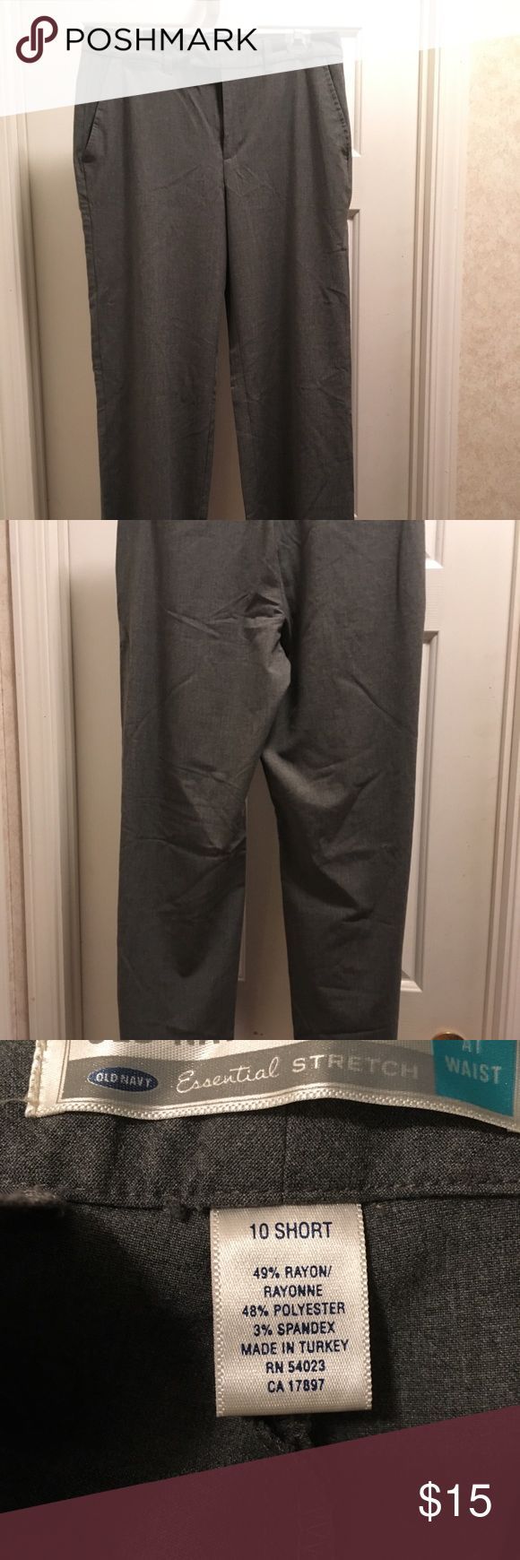 "Old Navy Dress Pants size 10 Short Old Navy Dress Pants size 10 Short. Essential stretch, ""at the waist"" fit, gray straight leg. In excellent condition. Old Navy Pants Trousers"