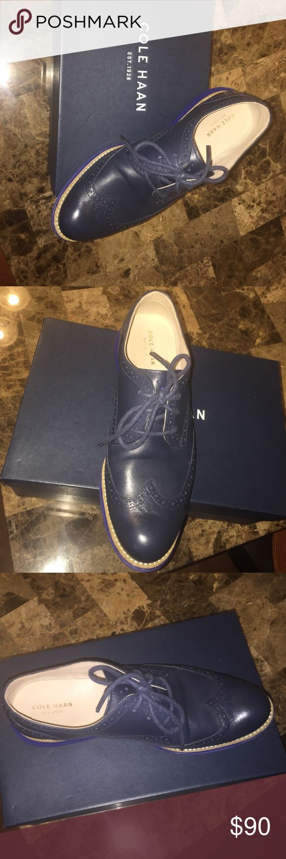 Women's Cole Haan Oxfords only worn twice Navy Blue Wingtip Oxfords for Women Cole Haan Shoes Flats & Loafers