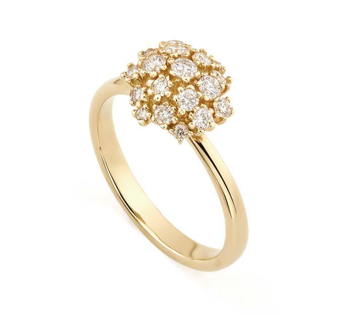 Anel de ouro amarelo 18K com diamantes - Coleção Buquê de Diamantes - Modelo: A2B194028