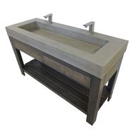 """Trueform 60"""" Lavare Rectangle Concrete Sink with Drawer is a custom modern sink with contemporary features for the bathroom, or powder room. Wharton, New Jersey. Vanity top integral sink with base."""