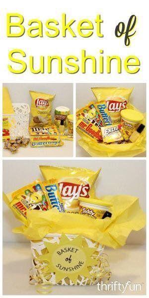 So cute! Lovely yellow theme diy gift basket ideas