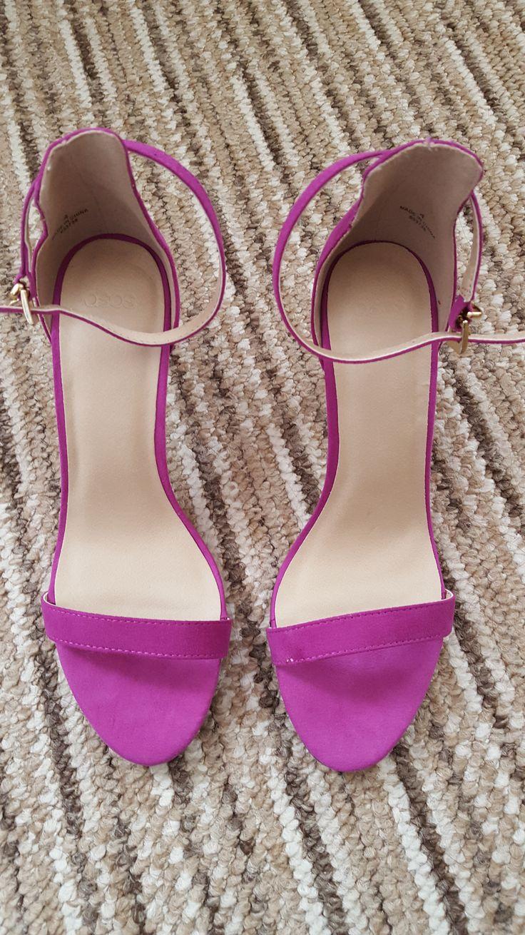 ASOS Mid Heel Magenta Sandals