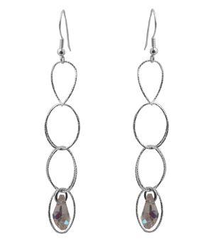 Handmade silver hook earrings 925o made of double platinum plated silver chain and Swarovski crystal  6x11mm - Χειροποίητα ασημένια κρεμαστά σκουλαρίκια γάντζοι από επιπλατινωμένο ασήμι 925ο. Αποτελείται από διπλή γυαλιστερή ασημένια αλυσίδα από οβάλ κρίκους και καταλήγει σε λευκό ιριζέ κρύσταλλο Swarovski  6mm x11mm.