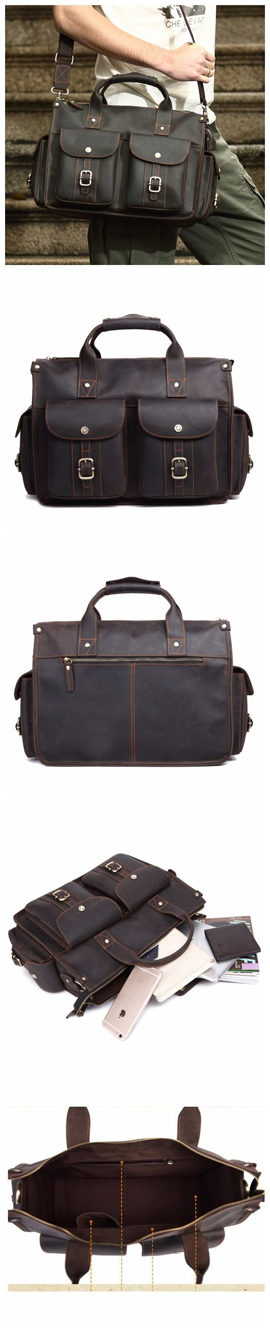 ROCKCOW Handcrafted Rustic Leather Briefcase, Messenger Bag, Laptop Bag, Men's Handbag 8649