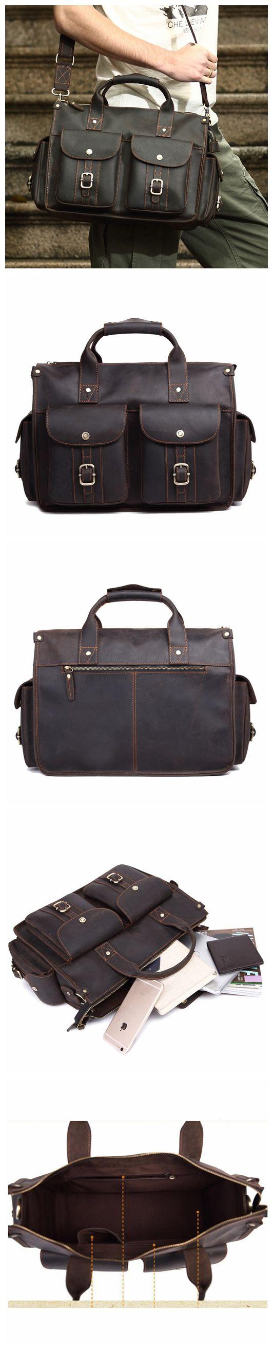 ROCKCOW Handcrafted Rustic Leather Briefcase, Messenger Bag, Laptop Bag, Men's Handbag 8649