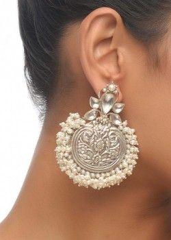 Embossed Crescent Earrings with Kundan Stones