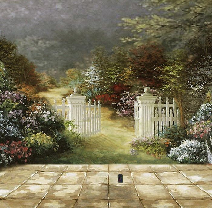 Beautiful Beautiful Garden Wall Murals Painting. Note The Wall Plug.