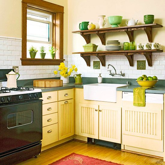 green and yellow.Kitchens Shelves, Open Shelves, Kitchens Design, Colors, Subway Tile, Kitchens Ideas, Green Kitchens, Kitchens Backsplash, Kitchens Cabinets