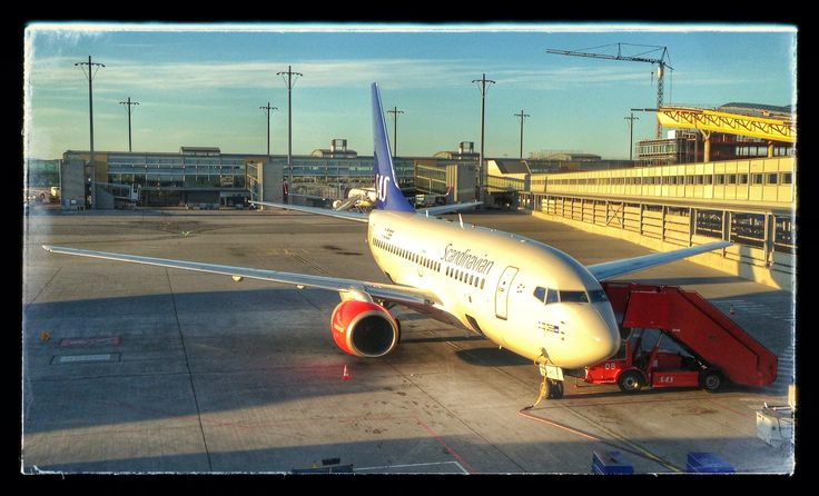 A SAS Boeing 737 at Gardermoen airport, Oslo