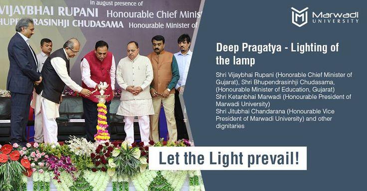 Deep Pragatya - Lighting of the lamp!! In the presence of Shri Vijay Rupani (Honorable Chief Minister of Gujarat), Shri Bhupendrasinh Chudasama (Honorable Minister of Education, Gujarat), Shri Ketanbhai Marwadi (Honorable President of Marwadi University), Shri Jitubhai Chandarana (Honorable Vice President of Marwadi University) and other dignitaries Let the Light prevail! #LightingDiyas #LightingTheLamp #Deep #MarwadUniversity #Inauguration