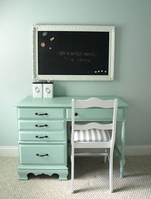 DIY Magnetic Chalkboard. Its crazy that this desk looks just like my thrift store desk. Just painted.