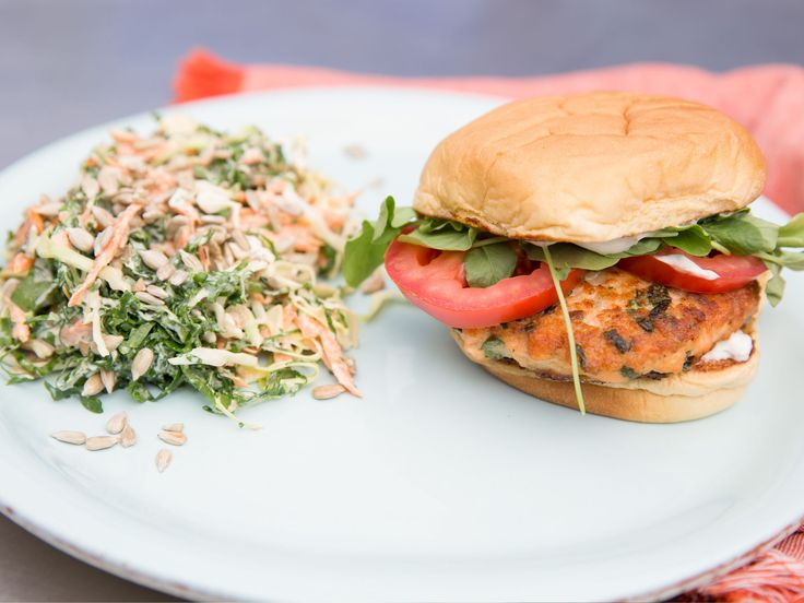 Salmon Burgers with Lemon-Caper Aioli and Kale Slaw recipe from Katie Lee via Food Network
