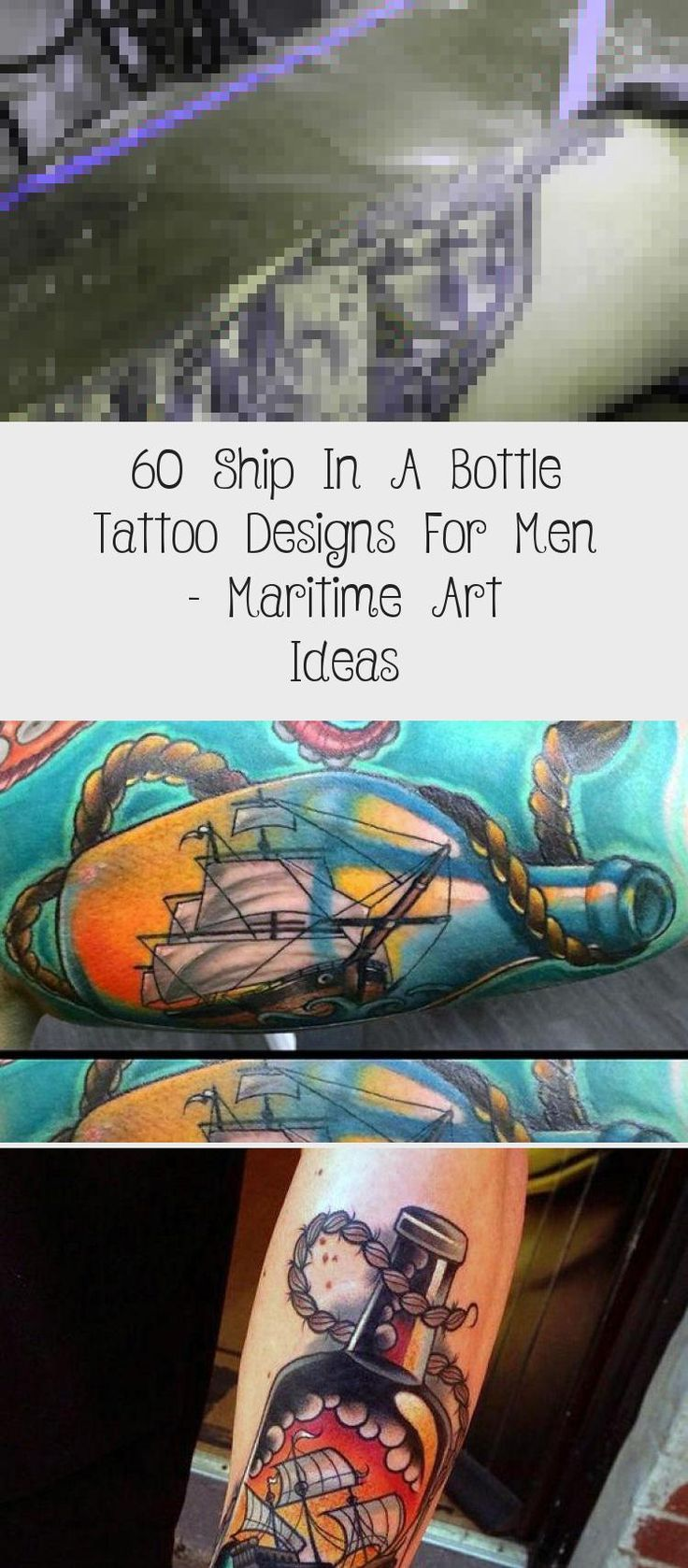 60 Ship In A Bottle Tattoo Designs For Men – Maritime Art Ideas   – black tattoo