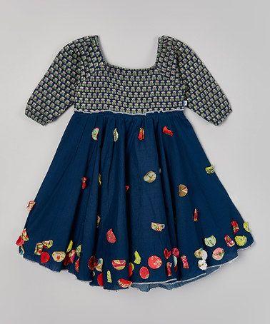 Loving this Navy Kamal Hariette Dress - Toddler & Girls on #zulily! #zulilyfinds