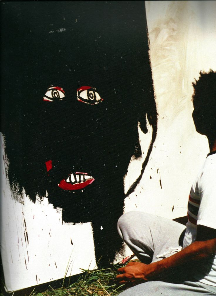 Jean-Michel Basquiat - Artist XXème - Underground Art - While painting a portrait of his girlfriend, Paige Powell, N-Y, 1983, photographie de Paige Powell. Powell Archive Carmel, N-Y, 1983