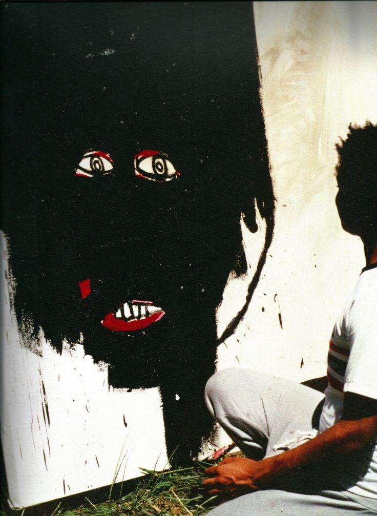 Jean-Michel Basquiat - Artist XXème - Underground Art - While painting a portrait of his girlfriend, Paige Powell, N-Y, 1983, photographie de Paige Powell. Powell Archive Carmel, N-Y, 1983