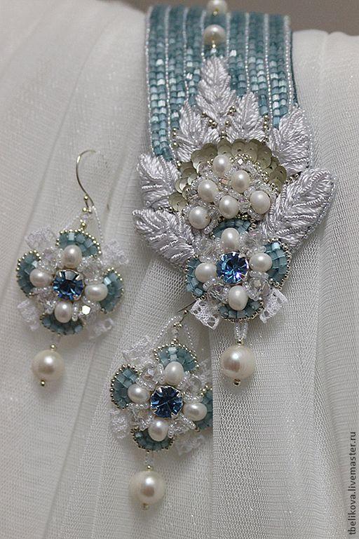 Купить Комплект украшений D2013-11 - голубой, бело-голубой, комплект украшений, браслет, серьги