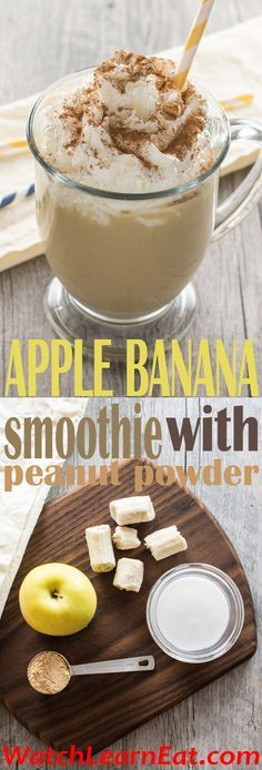 Can't choose between a peanut butter and banana sandwich or apples with peanut butter? Don't! Try this Apple Banana Smoothie with Peanut Powder instead!