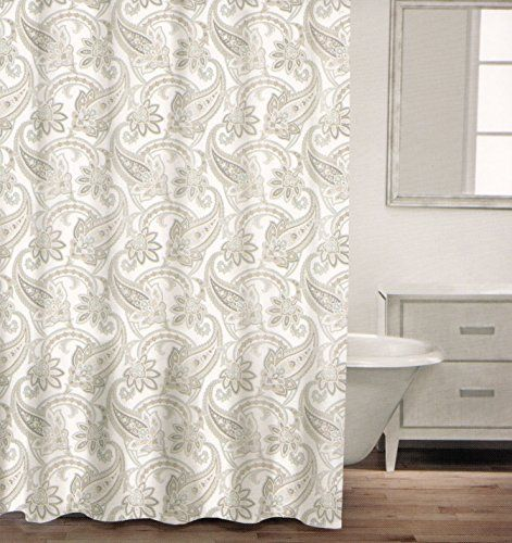 Caro Home 100 Cotton Shower Curtain Paisley Scroll Fabric Shower Curtain Gray White Taupe Grey