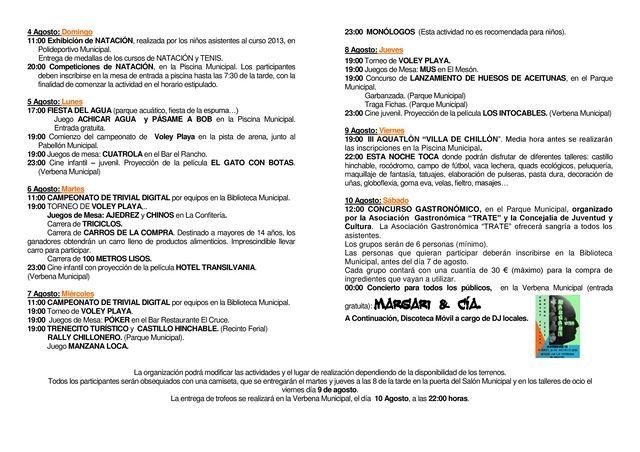 La áreas de Juventud, Cultura y Deporte del Excmo. Ayuntamiento de Chillón, organiza la Semana Joven 2013 del 4 al 10 de Agosto.