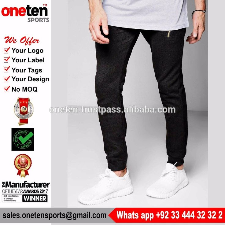 Best quality plain 100% cotton joggers slim fitted skinny sweatpants Training & Jogging Wear Skinny Fit Jogger With Zips
