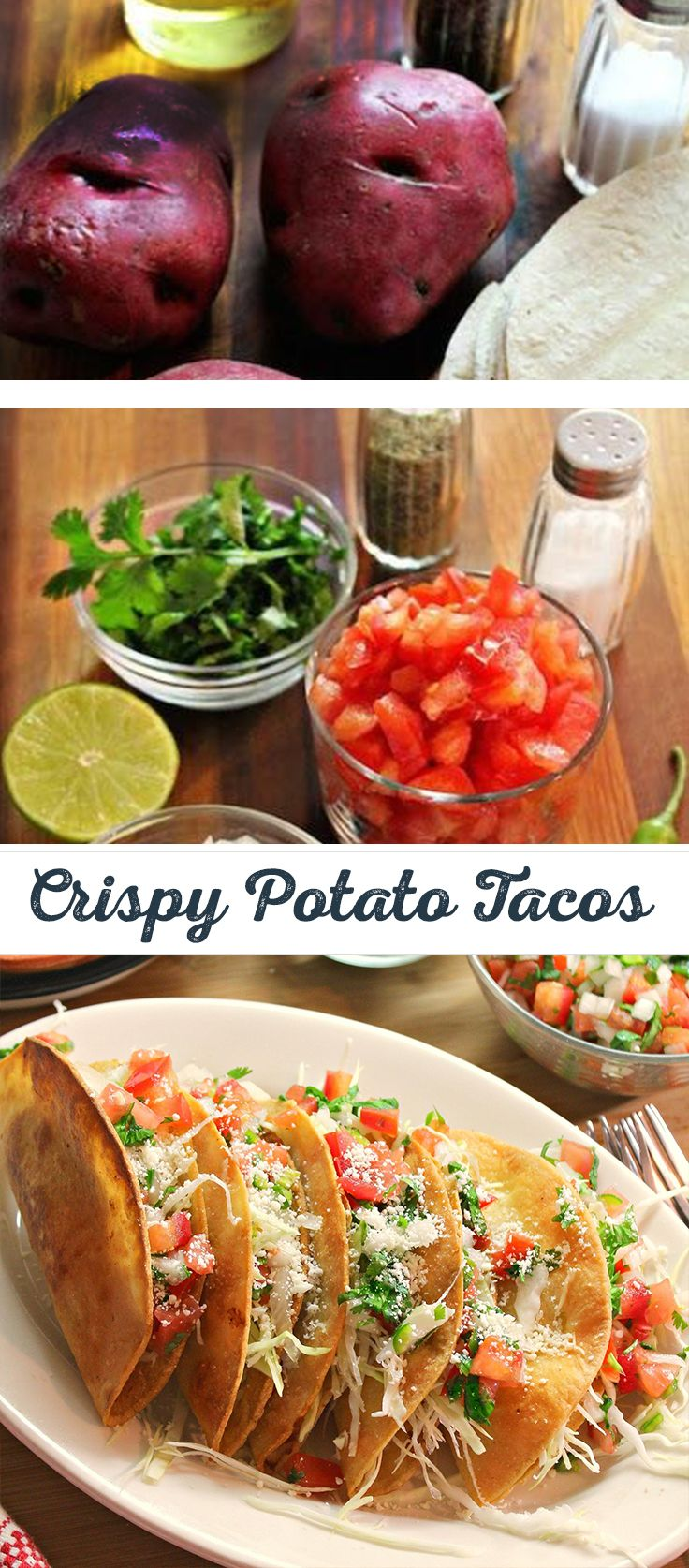 """Make your next taco night """"muy bueno"""" with this creative Vegetarian Crispy Potato Tacos recipe. Colorado ain't done yet, add some hatch green chilies to that mini mountain of crispy potatoes."""