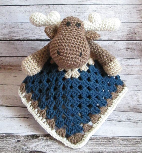 Crochet Moose Lovey Security Blanket, Baby Boy Moose Security Blanket