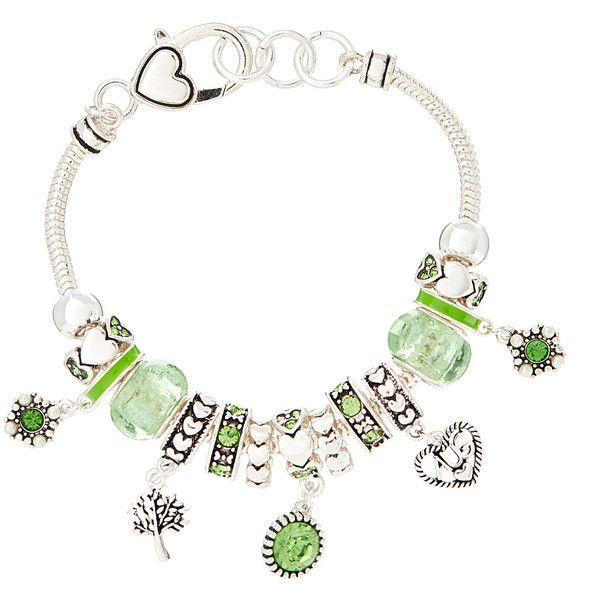 Oori Trading August Birthstone Charm Bracelet ($8.99) ❤ liked on Polyvore featuring jewelry, bracelets, beads jewellery, bead charms, charm bracelet bangle, birthstone charms and charm bracelet jewelry