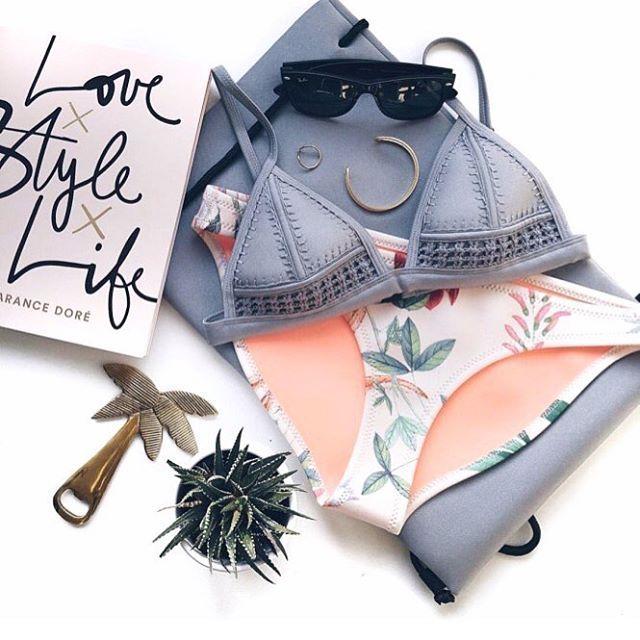 The COCO Bikini Featuring 'Stardust Serenade' High Shine Silver + Pastel Floral Neoprene  Photo by @redreidinghood