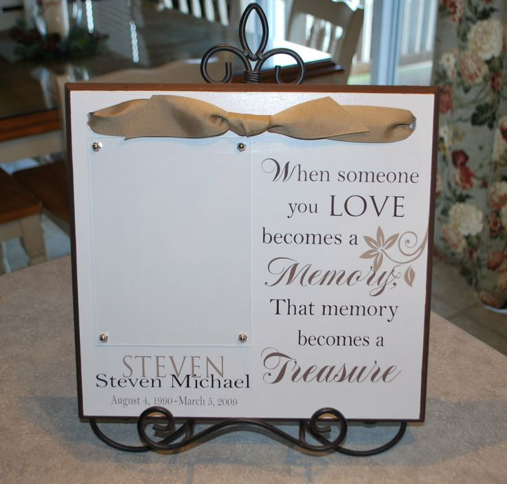 This would be a beautiful gift to give to someone who has ever lost someone.  This website has tons of great gift ideas that you can make using vinyl