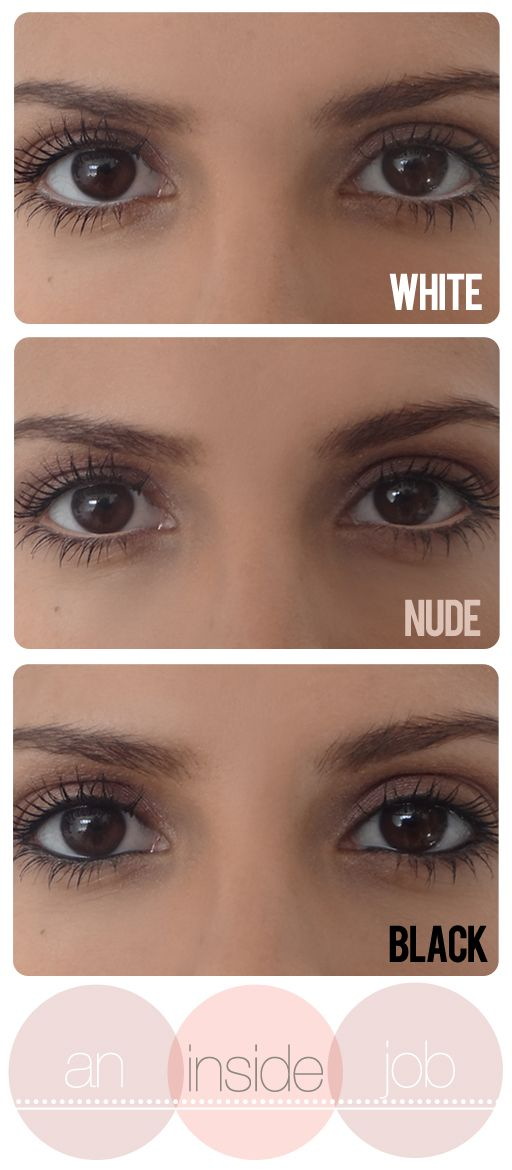 White, Nude, & Black Eyeliner On The Waterline ..... White makes eyes bigger. Nude also makes the eyes bigger in a subtle way. Black makes the eyes smaller and piercing