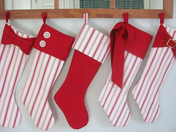 Christmas Stocking Set of five red and white Holiday Stockings Sale Handmade Home Decor