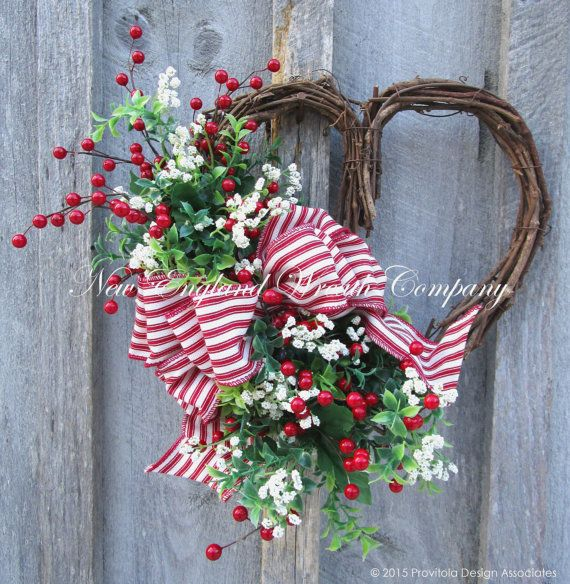 Valentine Wreath, Heart Wreath, Red Berry Wreath, Country Cottage, Wedding Wreath    Country Cottage Sweetheart Wreath. A charming bouquet of