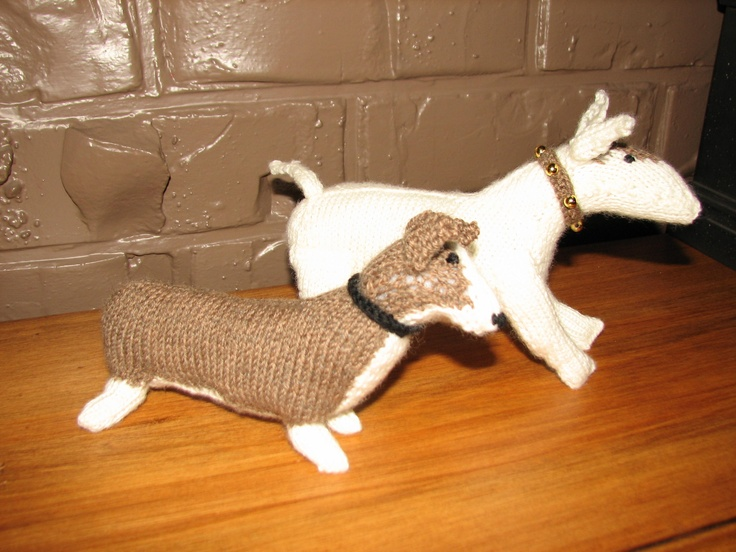 "Miniature knitted dogs from Sally Muir & Joanna Osborne's book ""Knit Your Own Dog"""