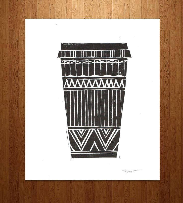 Tribal Coffee Cup Print