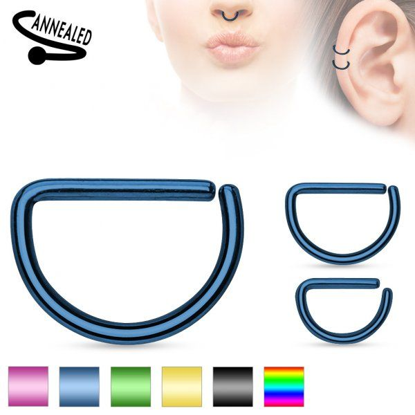 Annealed (BENDABLE) surgical steel D shaped ring with a titanium anodized finish that comes in several colors. You can use this piece for the #SeptumPiercing or #CartilagePiercing  Comes in different gauges and diameters #SeptumRingsJewelry #BodyGauges