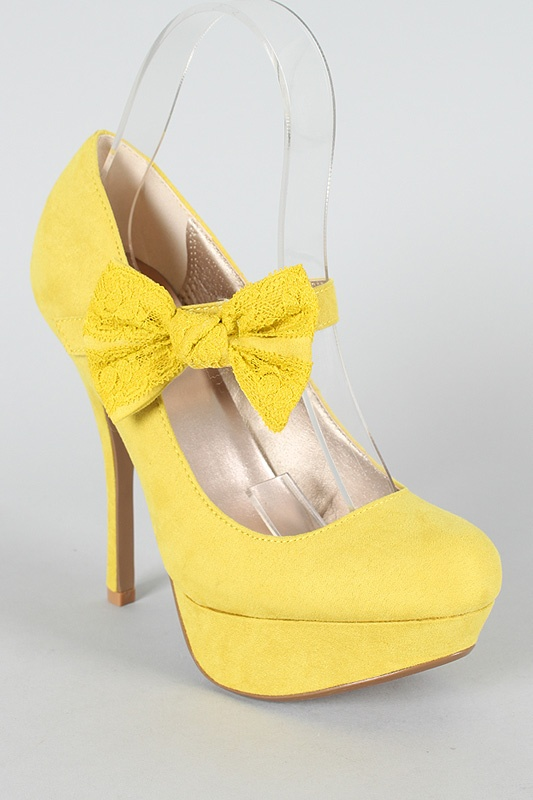 These adorable yellow heels would tie the bride's reception outfit into the yellow color scheme. I think these heels would look lovely with the dress I have previously chosen.