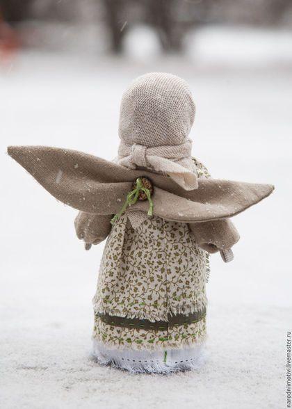 Angel doll a'la Russe / Народная кукла оберег Ангел хранитель с мятой в кармашке, оберег для дома, оберег для семьи, оберег на счастье, куклы обереги, зеленый, бежевый, мята.