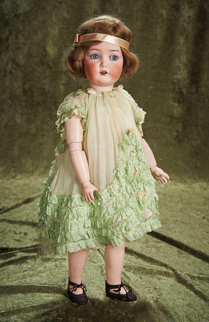 "20"" (51 cm.) German Bisque Flapper Doll in Original Costume by Dressel 700/900"