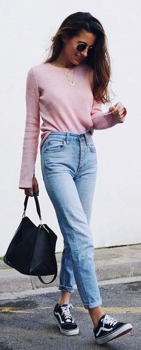 jeans, old school vans and pink pullover