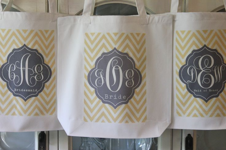 """4 """"CHEVRON TAG"""" Tote Bags in your choice of 60 colors #Bridesmaids #totes # bags #gifts #wedding #ideas  by Modern Vintage Market"""