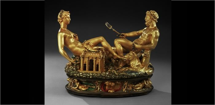 Benvenuto Cellini created this spectacular salt cellar in Paris, working to a commission from Francois 1 of France. This is universally regarded as one of the greatest of all Renaissance artefacts, a triumph of the imagination wrought in gold. It is Cellini's only fully authenticated work in the metal.Despite its extravagance, this was an item intended for practical use. Salt had been a highly prized commodity since Ancient Rome where soldiers had been paid in salt (the origin of today's term...