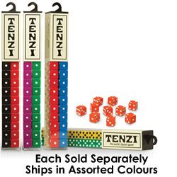 """TENZI!! Roll your way to excitement and fun with Tenzi! Be the first player to get all ten of your dice to show the same number, and shout """"TENZI"""" to win the game!  Get it!: http://www.mastermindtoys.com/Tenzi-Dice-Matching-Game.aspx"""