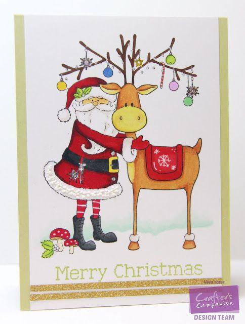 Santa & Reindeer by Vera W. Yates using Nordic Christmas Santa's Helper, Spectrum Noir: BG1, BT1, BT2, CG3, CG4, CR8, CR11, CT3, IG4, IG5, TB3, TN2, TN3, TN4