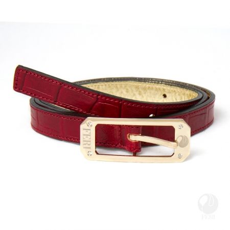 FERI - Carlita Belt - Red Print - Ladys hip belt - Made from genuine cow leather - imprinted with python skin pattern - Hand made and hand dyed - Buckle is custom engraved with FERI logos - Embellished with sparkling clear stones  Please refer to size chart to determine your size. www.gwtcorp.com/ghem or email fashionforghem.com for big discount