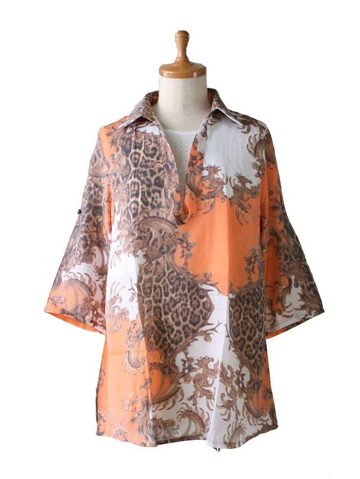 Amazon.co.jp: 【M~LL】重ね着風シャツチュニック 40代50代ファッション (MからLL, オレンジ): 服&ファッション小物通販