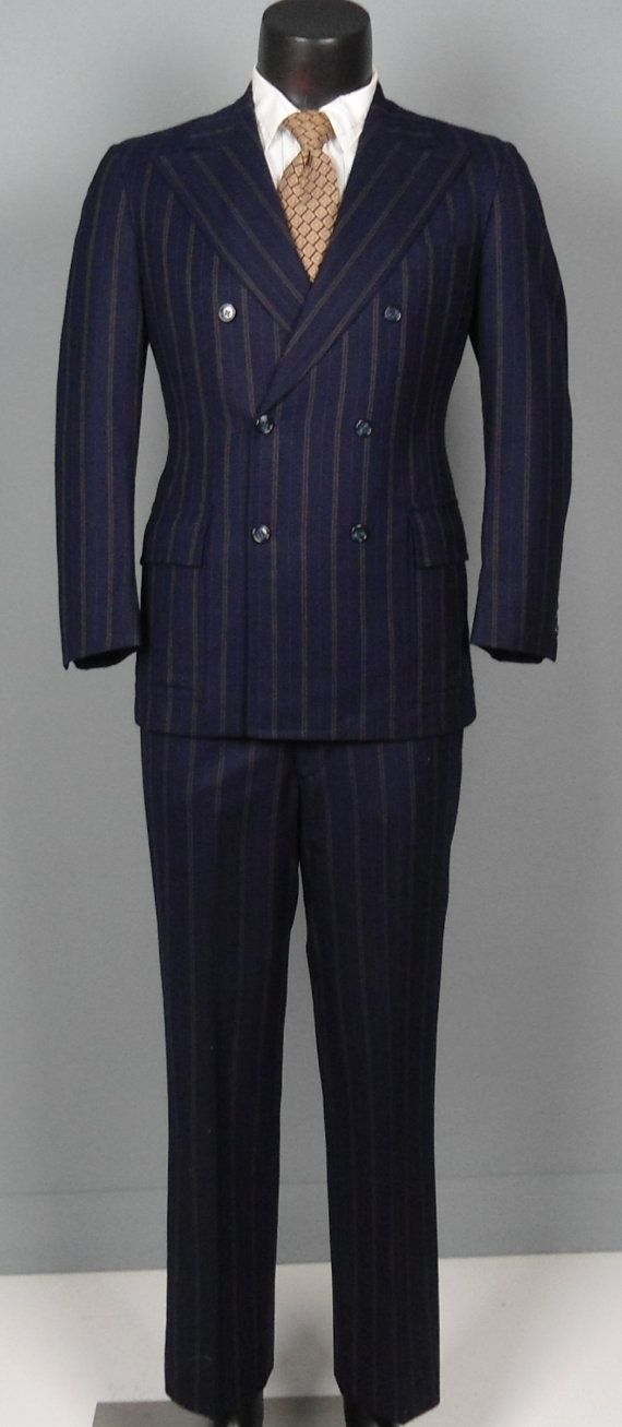 Vintage Mens Suits 1960s Double Pinstripe Navy Wool Double