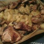 Cosce di pollo alla birra con patate arrosto