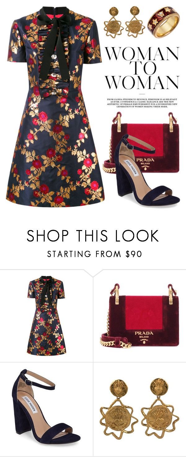 """Dark Florals 4234"" by boxthoughts ❤ liked on Polyvore featuring Gucci, Prada, Steve Madden, Yves Saint Laurent and Wellendorff"
