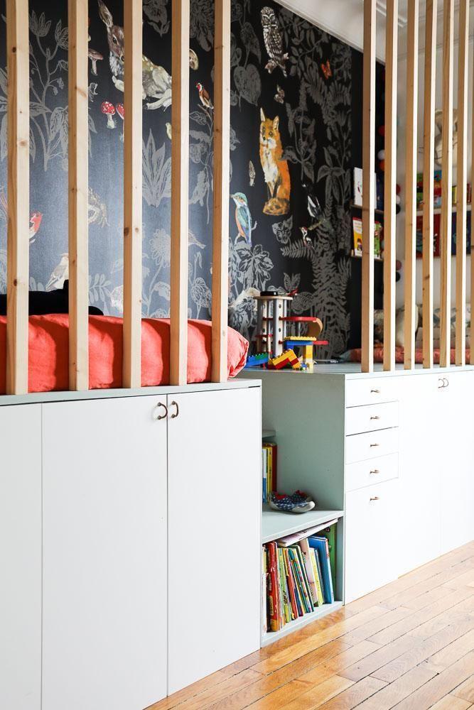 Chambre enfant cabane sur-mesure Papier peint Nathalie Lété Appartement Neuilly Amélie Colombet